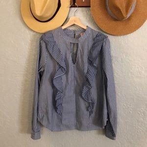 Mixed Stripe Ruffle blouse